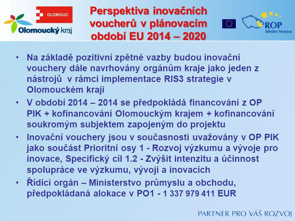 Perspektiva inovačních voucherů v plánovacím období EU 2014 – 2020 Na základě pozitivní zpětné vazby budou inovační vouchery dále navrhovány orgánům k