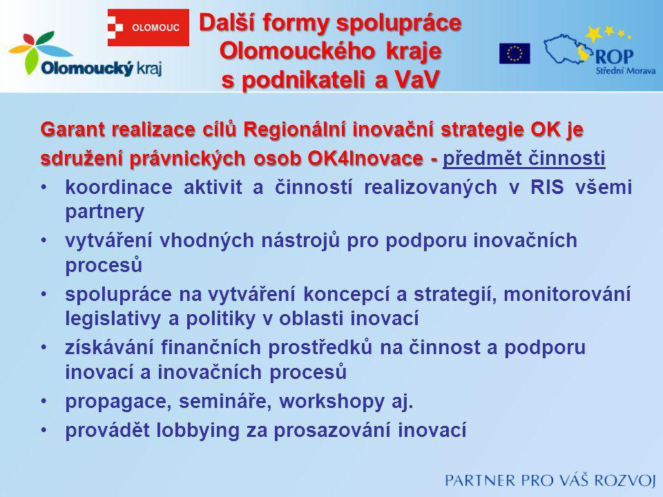 Další formy spolupráce Olomouckého kraje s podnikateli a VaV Garant realizace cílů Regionální inovační strategie OK je sdružení právnických osob OK4In