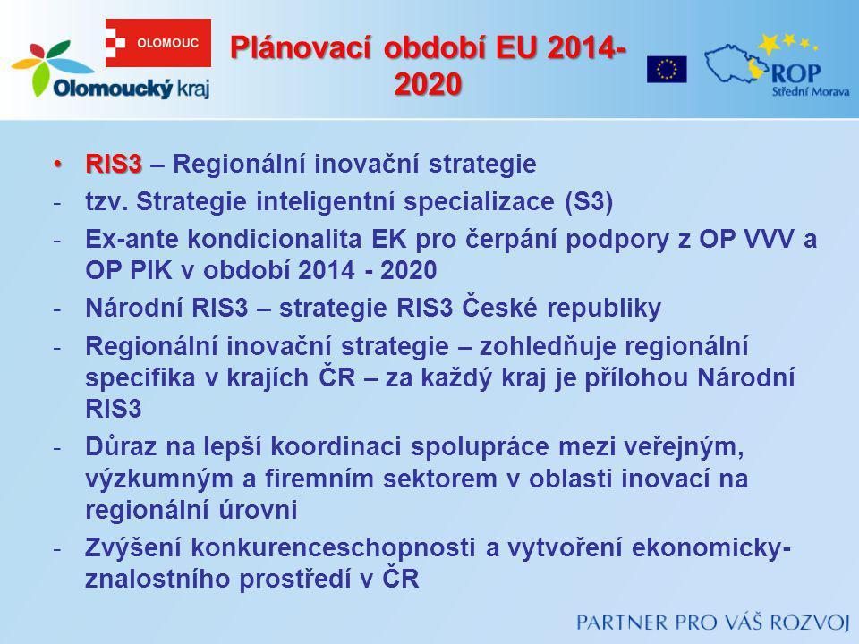 RIS3RIS3 – Regionální inovační strategie -tzv. Strategie inteligentní specializace (S3) -Ex-ante kondicionalita EK pro čerpání podpory z OP VVV a OP P