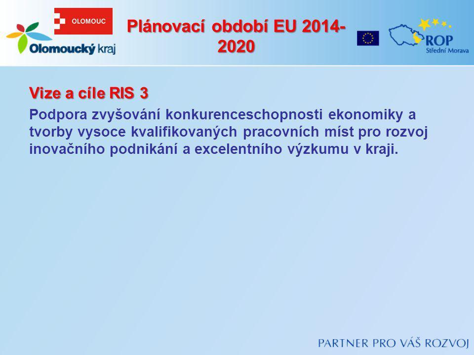 Plánovací období EU 2014- 2020 Vize a cíle RIS 3 Podpora zvyšování konkurenceschopnosti ekonomiky a tvorby vysoce kvalifikovaných pracovních míst pro