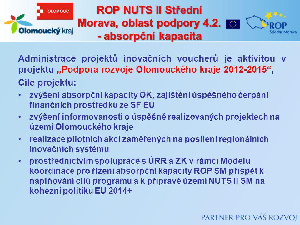 """ROP NUTS II Střední Morava, oblast podpory 4.2. - absorpční kapacita Administrace projektů inovačních voucherů je aktivitou v projektu """"Podpora rozvoj"""