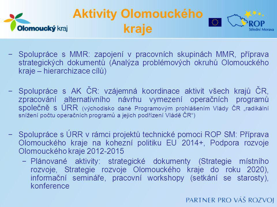 −Spolupráce s MMR: zapojení v pracovních skupinách MMR, příprava strategických dokumentů (Analýza problémových okruhů Olomouckého kraje – hierarchizac