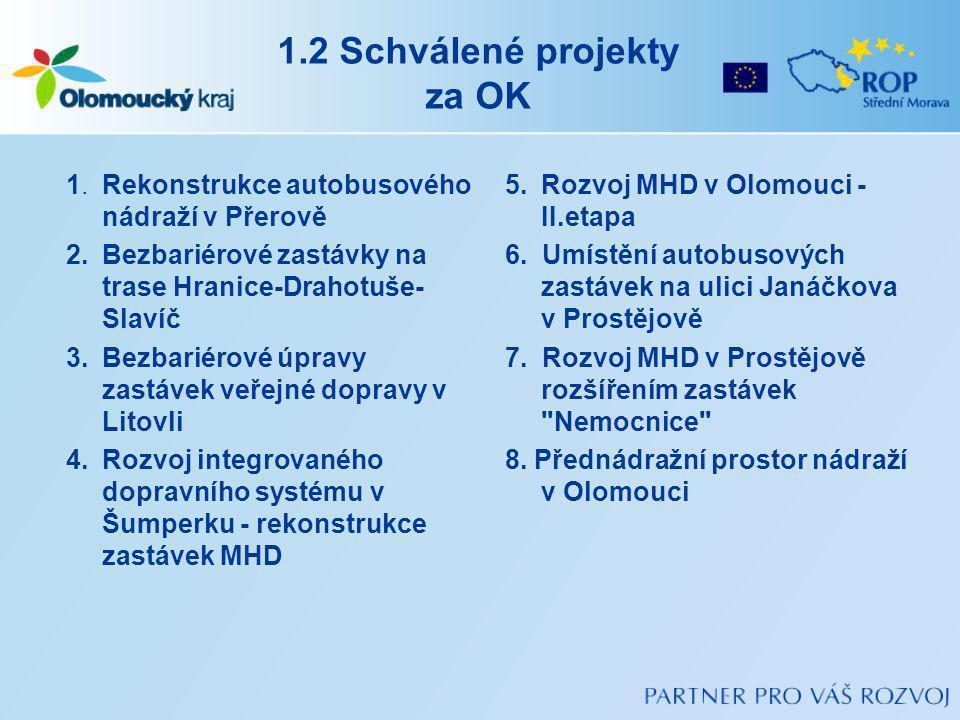 1.2 Schválené projekty za OK 1.Rekonstrukce autobusového nádraží v Přerově 2.