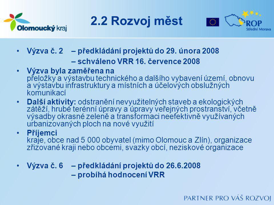 2.2 Rozvoj měst Výzva č.2 – předkládání projektů do 29.
