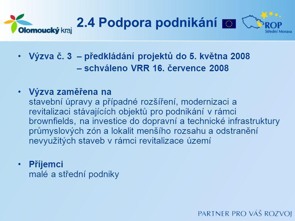 2.4 Podpora podnikání Výzva č.3– předkládání projektů do 5.