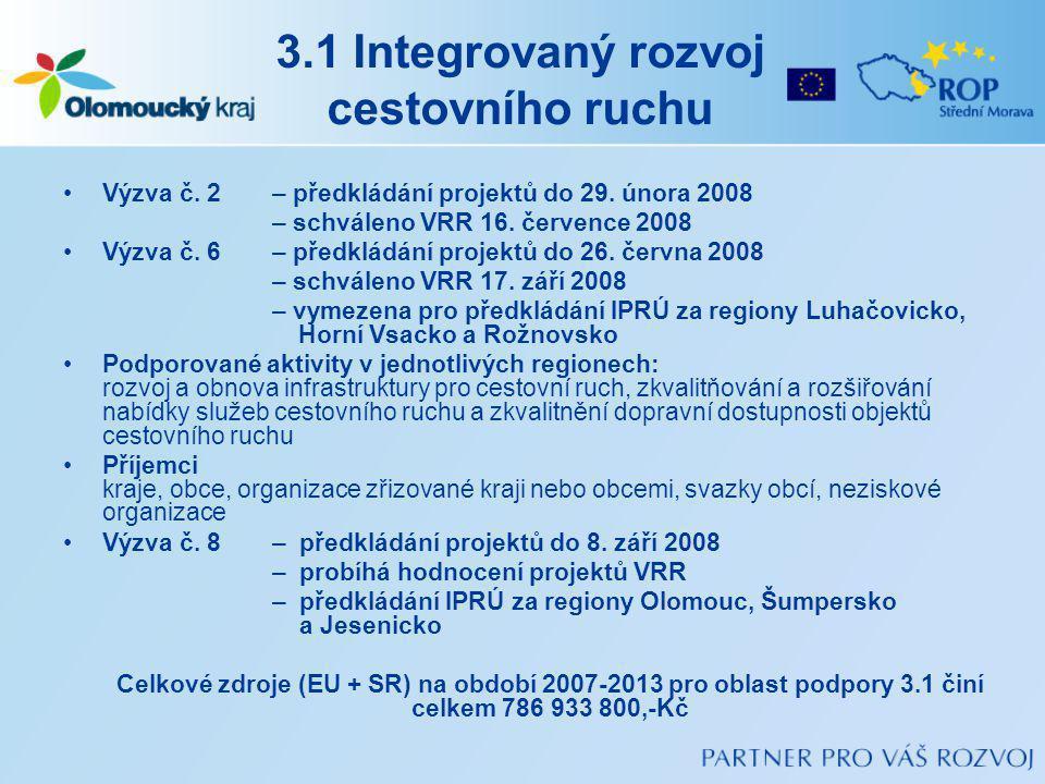 3.1 Integrovaný rozvoj cestovního ruchu Výzva č.2 – předkládání projektů do 29.
