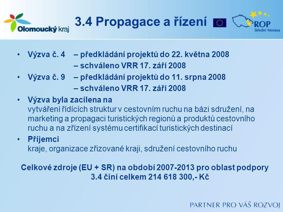 3.4 Propagace a řízení Výzva č.4 – předkládání projektů do 22.