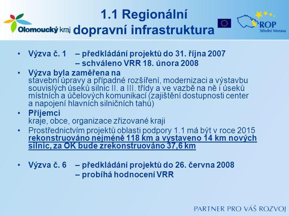 1.1 Regionální dopravní infrastruktura Výzva č.1 – předkládání projektů do 31.