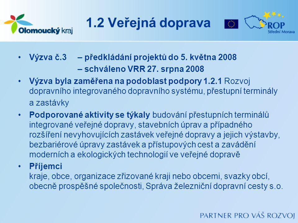 1.2 Veřejná doprava Výzva č.3 – předkládání projektů do 5.
