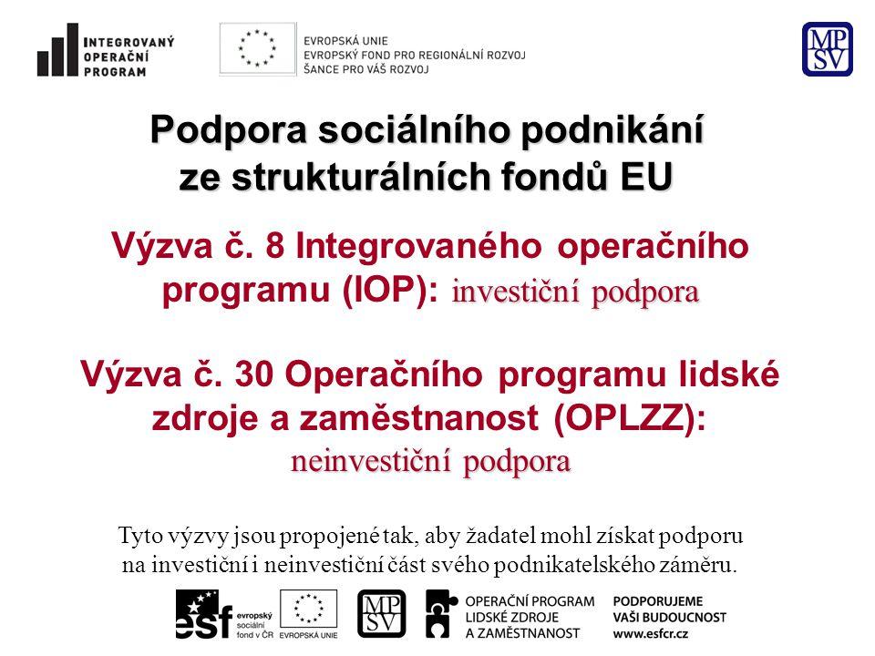 Podpora sociálního podnikání ze strukturálních fondů EU investiční podpora Výzva č.