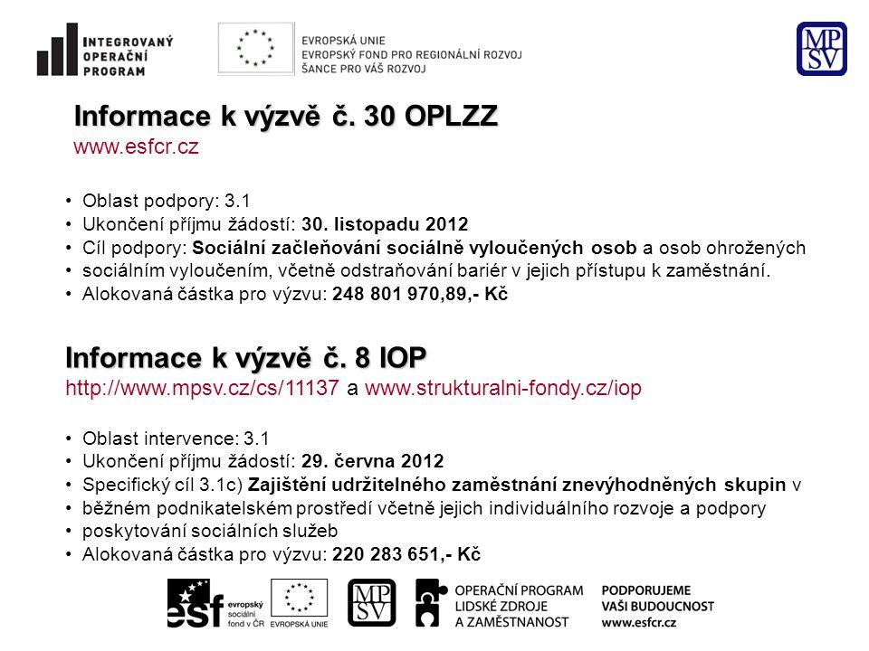 Informace k výzvě č. 30 OPLZZ www.esfcr.cz Oblast podpory: 3.1 Ukončení příjmu žádostí: 30.