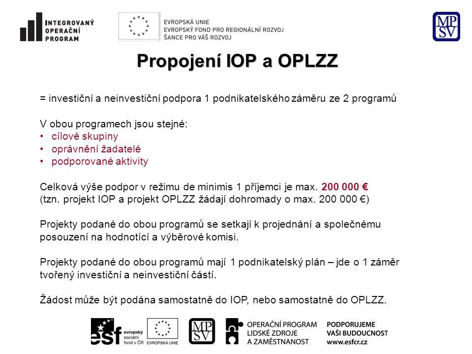 Propojení IOP a OPLZZ = investiční a neinvestiční podpora 1 podnikatelského záměru ze 2 programů V obou programech jsou stejné: cílové skupiny oprávnění žadatelé podporované aktivity Celková výše podpor v režimu de minimis 1 příjemci je max.