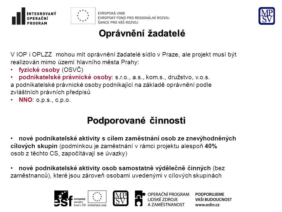 Oprávnění žadatelé V IOP i OPLZZ mohou mít oprávnění žadatelé sídlo v Praze, ale projekt musí být realizován mimo území hlavního města Prahy: fyzické osoby (OSVČ) podnikatelské právnické osoby: s.r.o., a.s., kom.s., družstvo, v.o.s.