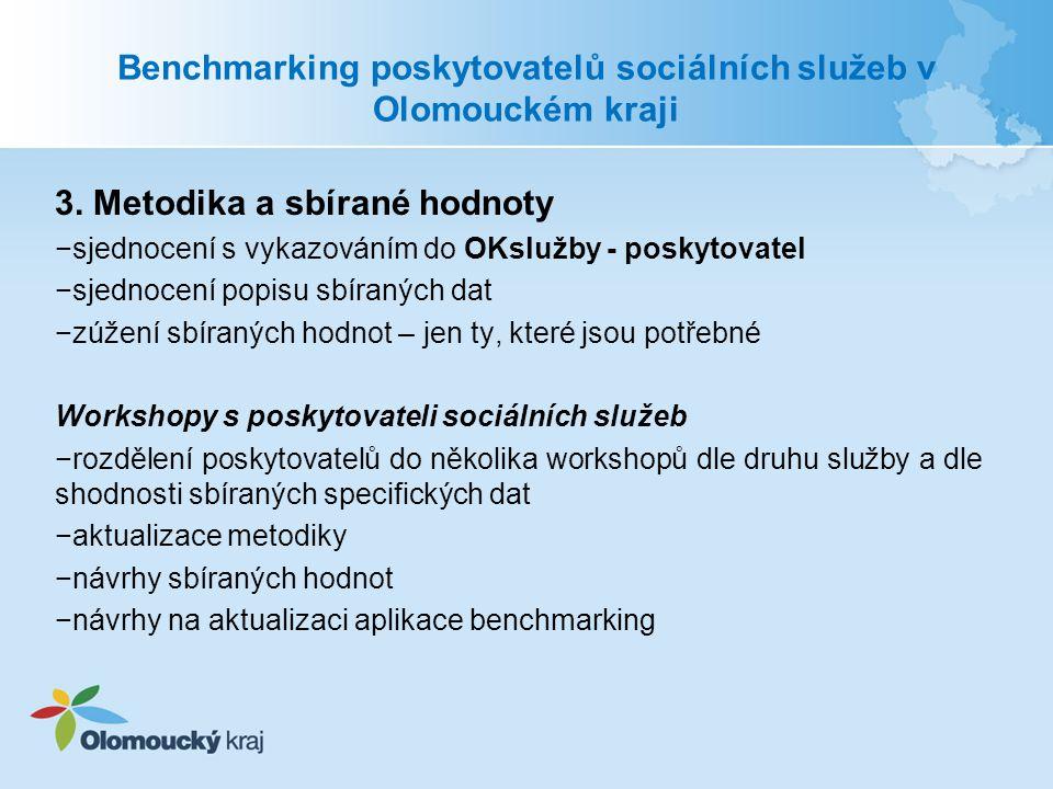 Benchmarking poskytovatelů sociálních služeb v Olomouckém kraji 3. Metodika a sbírané hodnoty −sjednocení s vykazováním do OKslužby - poskytovatel −sj