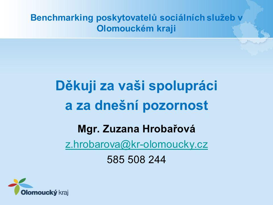 Benchmarking poskytovatelů sociálních služeb v Olomouckém kraji Děkuji za vaši spolupráci a za dnešní pozornost Mgr. Zuzana Hrobařová z.hrobarova@kr-o