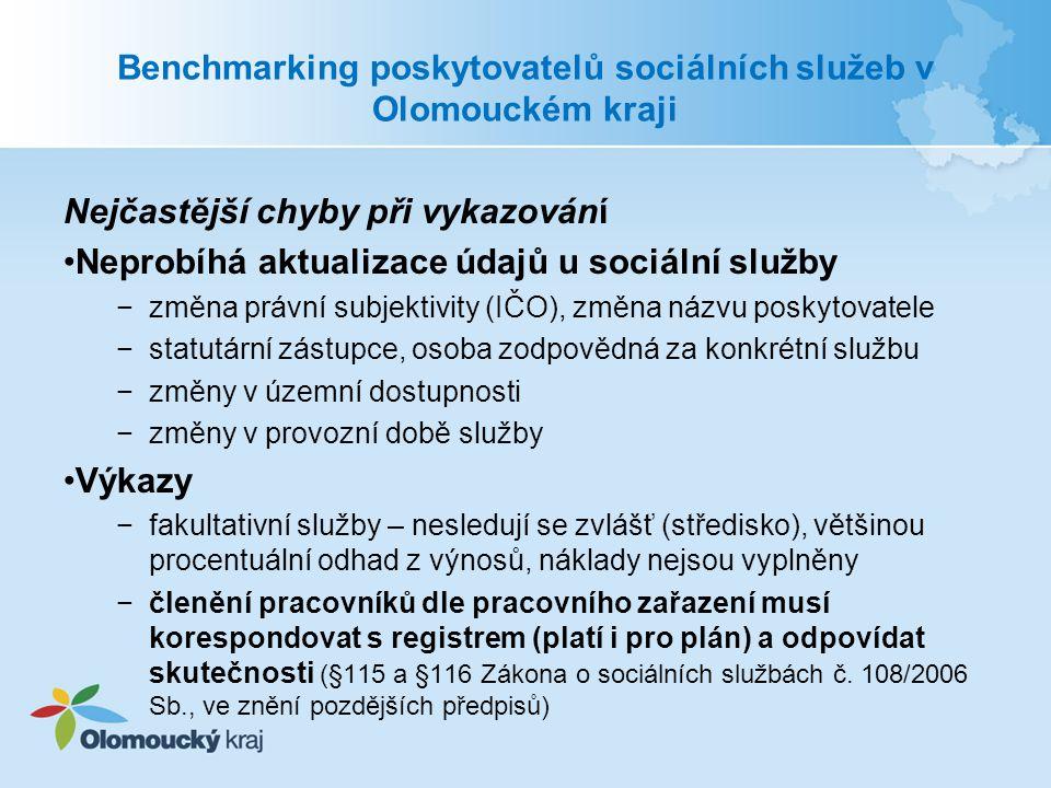"""Benchmarking poskytovatelů sociálních služeb v Olomouckém kraji Výnosy −nesprávně vyplněná částka od MPSV a od obcí −nesprávně vyplněné výnosy od zdravotních pojišťoven −výnosy od MPSV za celou službu poskytující ve více krajích, ne částka přímo na zařízení služby v OK, totéž náklady −výnosy z OK související přímo s poskytováním služeb, výnosy jsou z """"Dotačního programu Olomouckého kraje pro sociální oblast , a to pouze dotace na poskytování sociálních služeb −evropské zdroje (EZ) – často se zaměňují s výnosy z OK, individuální projekty (IP) Olomouckého kraje jsou financované z fondů EU a jsou pouze Olomouckým krajem administrovány."""
