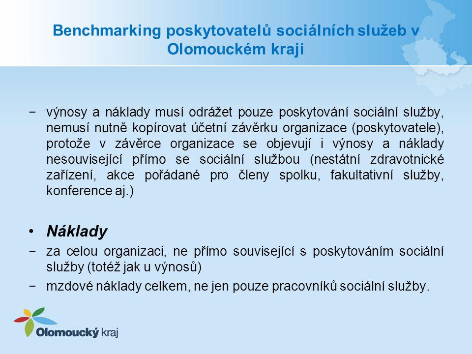 Benchmarking poskytovatelů sociálních služeb v Olomouckém kraji Specifická data −nesprávné výpočty specifických dat −různý výklad metodiky Pozitivní změna ve vyplňování výkazů za rok 2013 a plánu 2014 −více telefonických i osobních konzultací vykazování a metodiky −podrobné poznámky u vykazovaných hodnot −celkově více bezchybně vyplněných výkazů −podnětné návrhy od poskytovatelů na změny metodiky a strukturu dat −návrhy na zlepšení uživatelského prostředí aplikace
