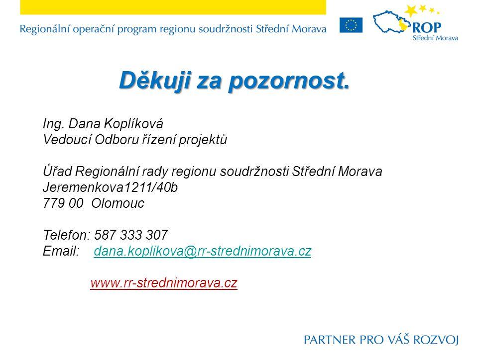 Ing. Dana Koplíková Vedoucí Odboru řízení projektů Úřad Regionální rady regionu soudržnosti Střední Morava Jeremenkova1211/40b 779 00 Olomouc Telefon: