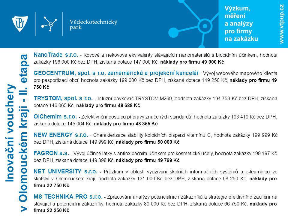 NanoTrade s.r.o. - Kovové a nekovové ekvivalenty stávajících nanomateriálů s biocidním účinkem, hodnota zakázky 196 000 Kč bez DPH, získaná dotace 147