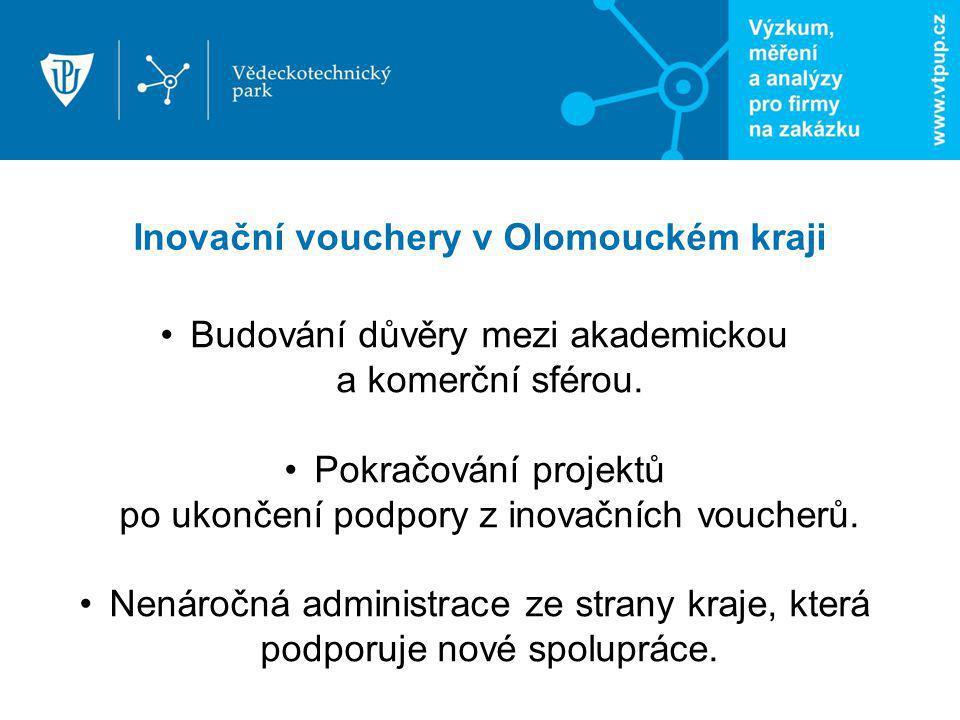 Inovační vouchery v Olomouckém kraji Budování důvěry mezi akademickou a komerční sférou. Pokračování projektů po ukončení podpory z inovačních voucher