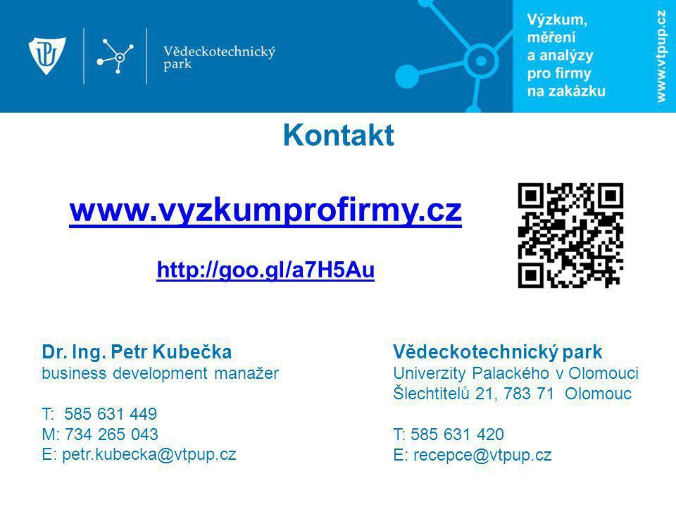 Dr. Ing. Petr Kubečka business development manažer T: 585 631 449 M: 734 265 043 E: petr.kubecka@vtpup.cz Kontakt Vědeckotechnický park Univerzity Pal