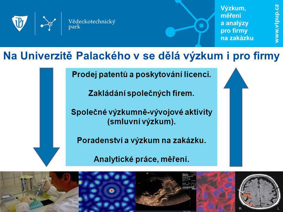Na Univerzitě Palackého v se dělá výzkum i pro firmy Prodej patentů a poskytování licenci. Zakládání společných firem. Společné výzkumně-vývojové akti