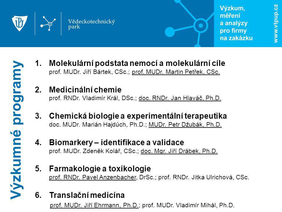 Výzkumné programy 1.Molekulární podstata nemocí a molekulární cíle prof. MUDr. Jiří Bártek, CSc.; prof. MUDr. Martin Petřek, CSc. 2.Medicinální chemie