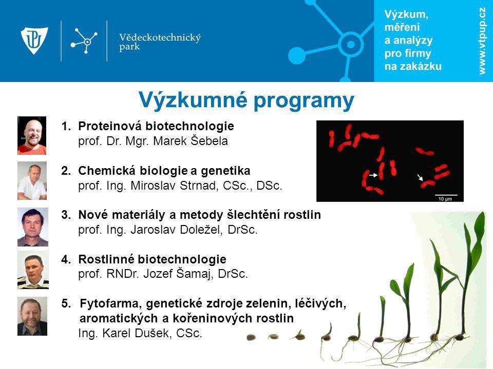 1. Proteinová biotechnologie prof. Dr. Mgr. Marek Šebela 2. Chemická biologie a genetika prof. Ing. Miroslav Strnad, CSc., DSc. 3. Nové materiály a me