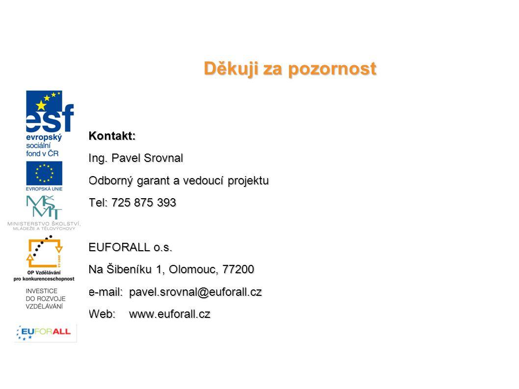 Kontakt: Ing. Pavel Srovnal Odborný garant a vedoucí projektu Tel: 725 875 393 EUFORALL o.s.