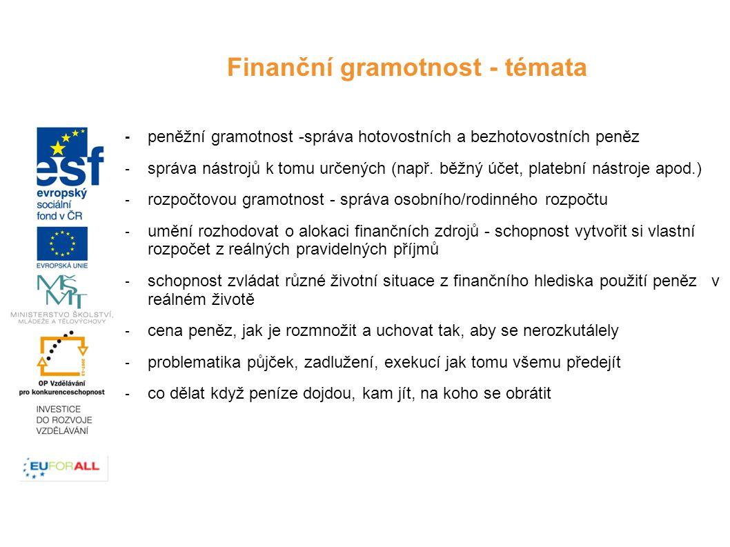 -peněžní gramotnost -správa hotovostních a bezhotovostních peněz -správa nástrojů k tomu určených (např.