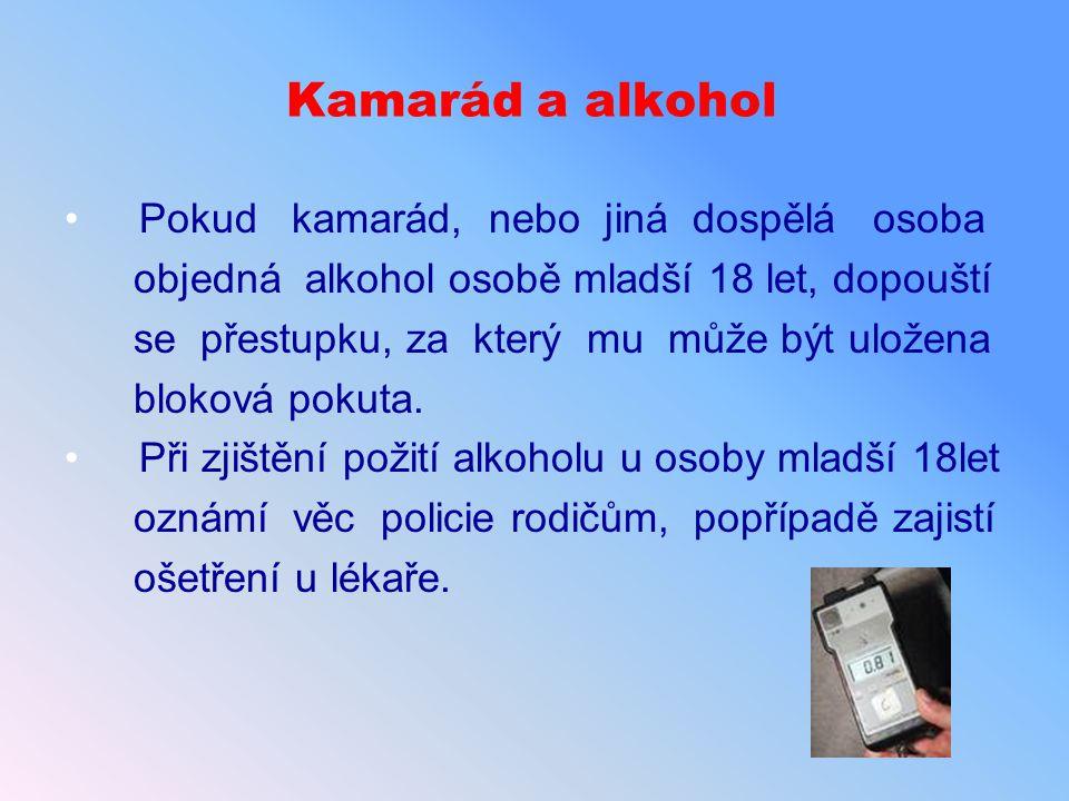 Kamarád a alkohol Pokud kamarád, nebo jiná dospělá osoba objedná alkohol osobě mladší 18 let, dopouští se přestupku, za který mu může být uložena blok