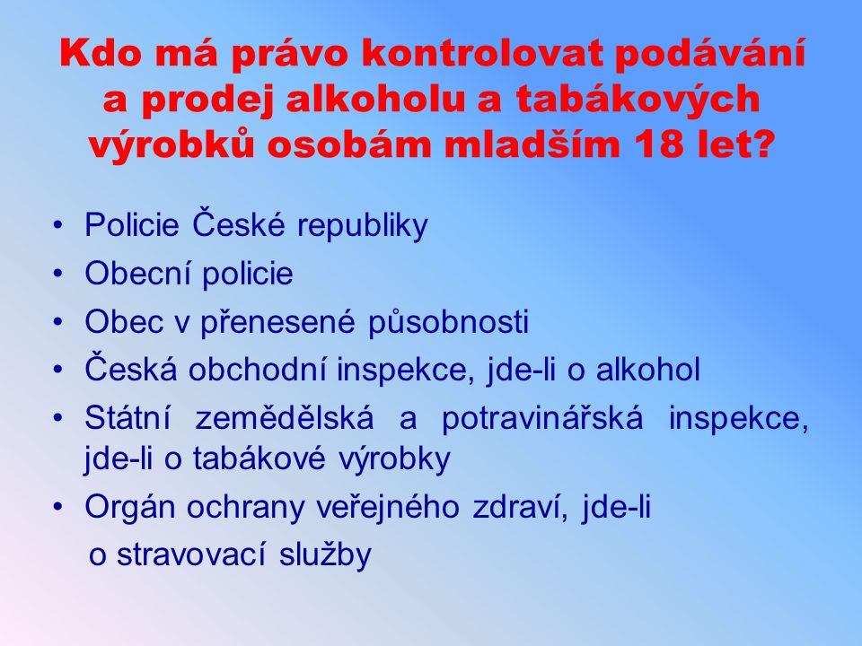 Kdo má právo kontrolovat podávání a prodej alkoholu a tabákových výrobků osobám mladším 18 let? Policie České republiky Obecní policie Obec v přenesen