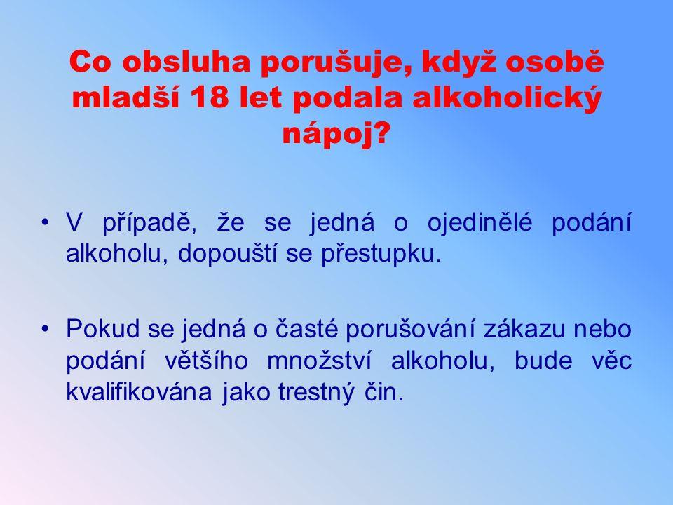 Co obsluha porušuje, když osobě mladší 18 let podala alkoholický nápoj? V případě, že se jedná o ojedinělé podání alkoholu, dopouští se přestupku. Pok