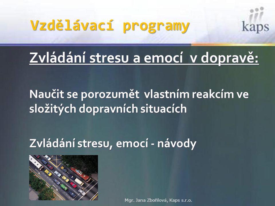 Vzdělávací programy Zvládání stresu a emocí v dopravě: Naučit se porozumět vlastním reakcím ve složitých dopravních situacích Zvládání stresu, emocí -