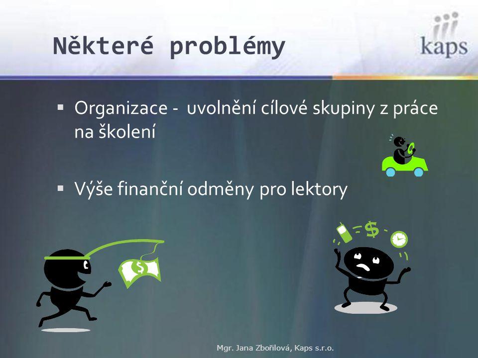 Některé problémy Mgr. Jana Zbořilová, Kaps s.r.o.  Organizace - uvolnění cílové skupiny z práce na školení  Výše finanční odměny pro lektory