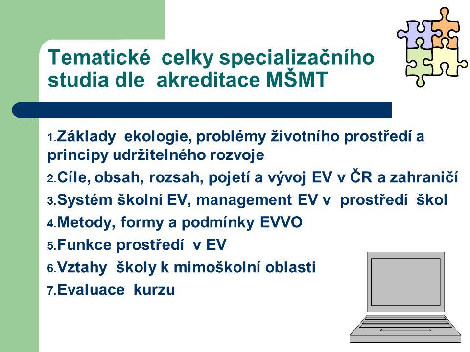 Tematické celky specializačního studia dle akreditace MŠMT 1.