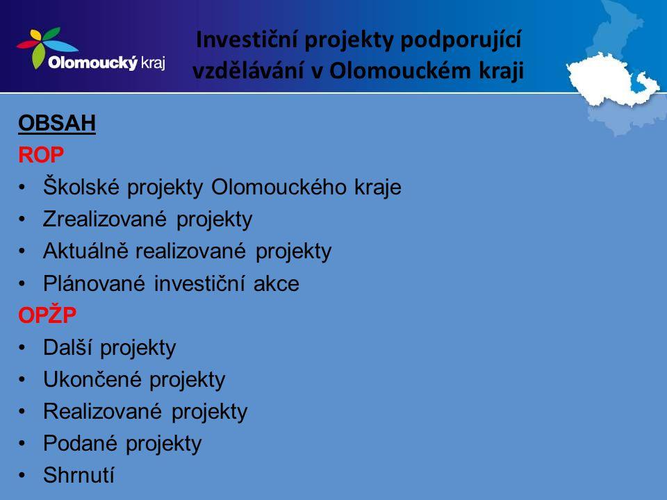 Investiční projekty podporující vzdělávání v Olomouckém kraji OBSAH ROP Školské projekty Olomouckého kraje Zrealizované projekty Aktuálně realizované projekty Plánované investiční akce OPŽP Další projekty Ukončené projekty Realizované projekty Podané projekty Shrnutí
