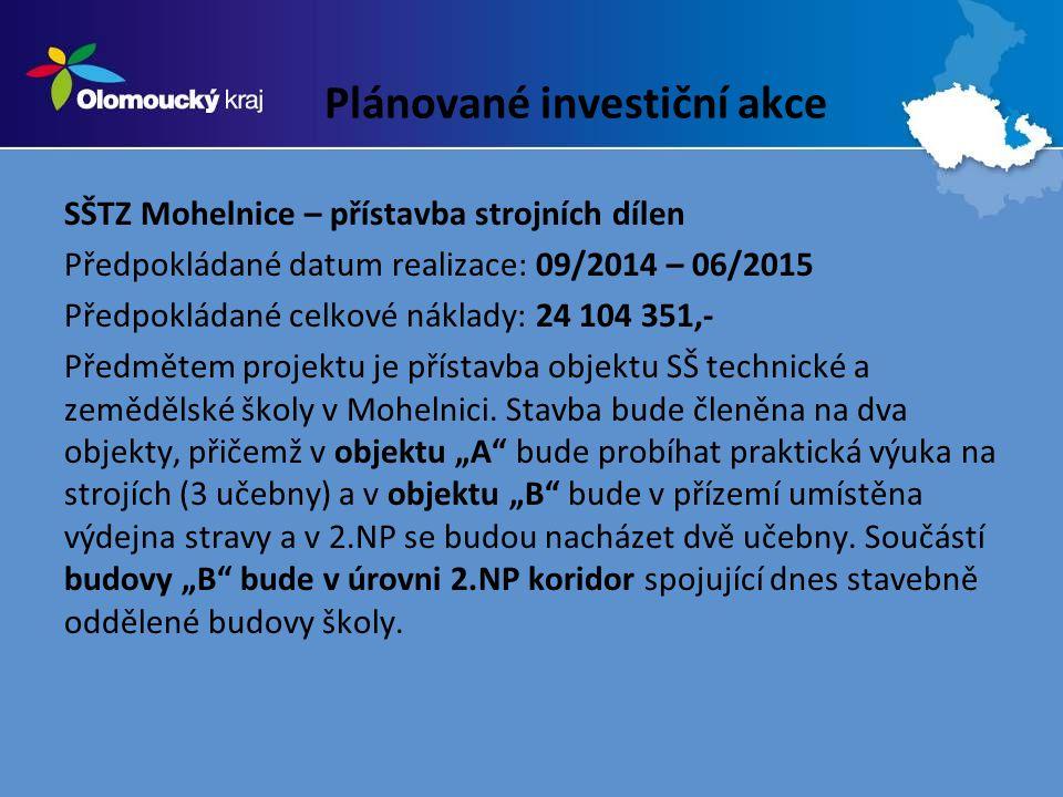 Plánované investiční akce SŠTZ Mohelnice – přístavba strojních dílen Předpokládané datum realizace: 09/2014 – 06/2015 Předpokládané celkové náklady: 24 104 351,- Předmětem projektu je přístavba objektu SŠ technické a zemědělské školy v Mohelnici.