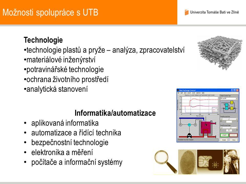 Možnosti spolupráce s UTB Technologie technologie plastů a pryže – analýza, zpracovatelství materiálové inženýrství potravinářské technologie ochrana životního prostředí analytická stanovení Informatika/automatizace aplikovaná informatika automatizace a řídící technika bezpečnostní technologie elektronika a měření počítače a informační systémy