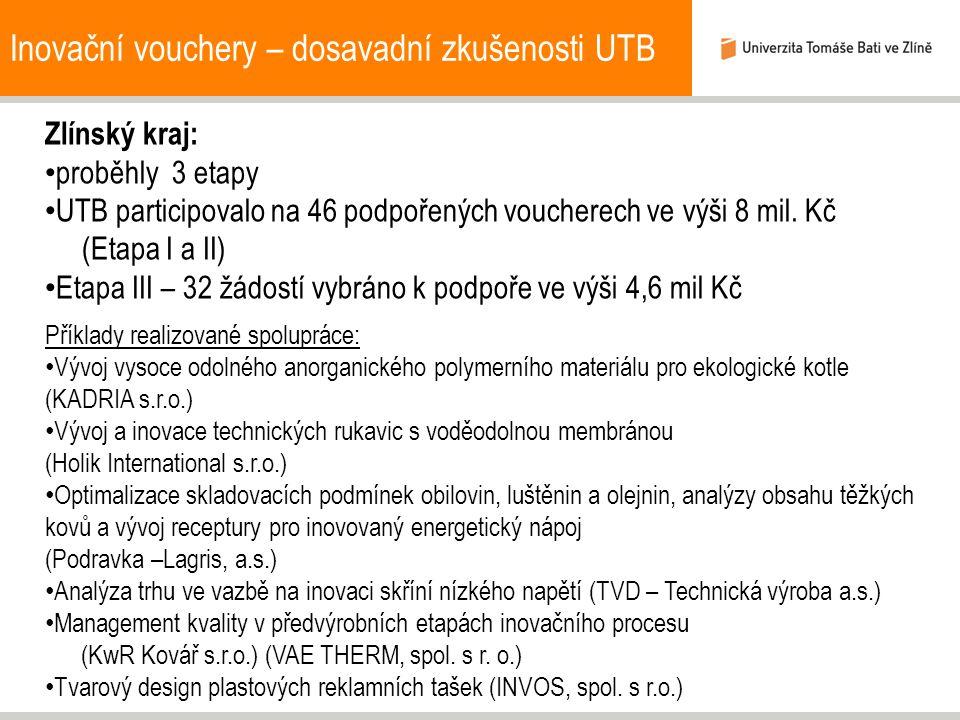 Inovační vouchery – dosavadní zkušenosti UTB Zlínský kraj: proběhly 3 etapy UTB participovalo na 46 podpořených voucherech ve výši 8 mil.