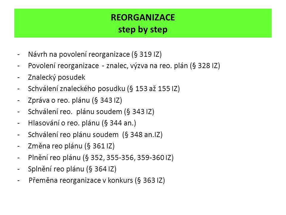 REORGANIZACE step by step -Návrh na povolení reorganizace (§ 319 IZ) -Povolení reorganizace - znalec, výzva na reo. plán (§ 328 IZ) -Znalecký posudek