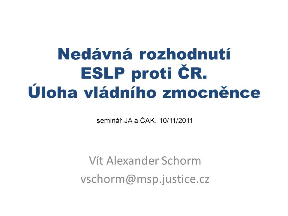 Informační zdroje Internetové stránky ESLP (Soudu) http://www.echr.coe.int databáze judikatury HUDOC http://cmiskp.echr.coe.int/tkp197/search.asp?skin=hudoc-en http://cmiskp.echr.coe.int/tkp197/search.asp?skin=hudoc-en informace pro potenciální stěžovatele http://www.echr.coe.int/ECHR/EN/Header/Applicants/Apply+to+the+Court/Application+pack/ http://www.echr.coe.int/ECHR/EN/Header/Applicants/Apply+to+the+Court/Application+pack/ Internetové stránky Min.