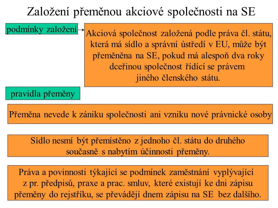 Založení přeměnou akciové společnosti na SE podmínky založení Akciová společnost založená podle práva čl. státu, která má sídlo a správní ústředí v EU
