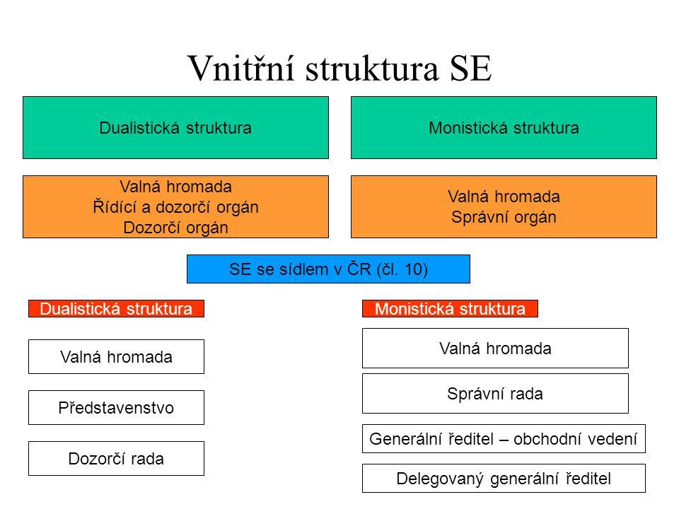 Vnitřní struktura SE Dualistická strukturaMonistická struktura Valná hromada Řídící a dozorčí orgán Dozorčí orgán Valná hromada Správní orgán SE se sí