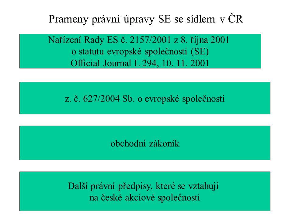 Prameny právní úpravy SE se sídlem v ČR Nařízení Rady ES č. 2157/2001 z 8. října 2001 o statutu evropské společnosti (SE) Official Journal L 294, 10.