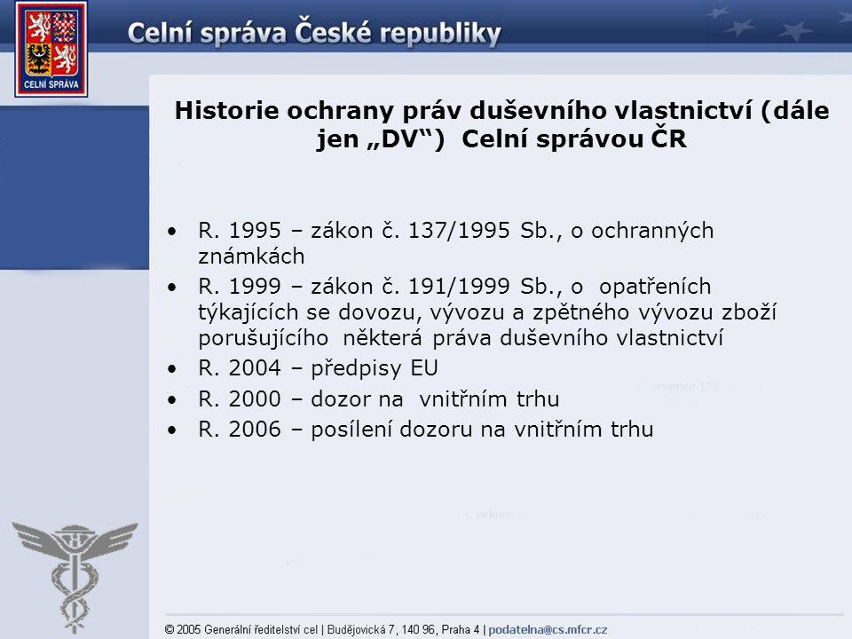 """Historie ochrany práv duševního vlastnictví (dále jen """"DV"""") Celní správou ČR R. 1995 – zákon č. 137/1995 Sb., o ochranných známkách R. 1999 – zákon č."""