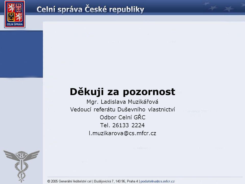 Děkuji za pozornost Mgr. Ladislava Muzikářová Vedoucí referátu Duševního vlastnictví Odbor Celní GŘC Tel. 26133 2224 l.muzikarova@cs.mfcr.cz