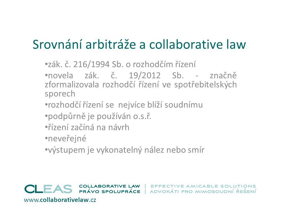 Srovnání arbitráže a collaborative law zák.č. 216/1994 Sb.