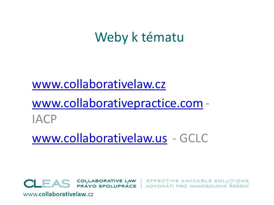 Weby k tématu www.collaborativelaw.cz www.collaborativepractice.comwww.collaborativepractice.com - IACP www.collaborativelaw.uswww.collaborativelaw.us - GCLC www.collaborativelaw.cz