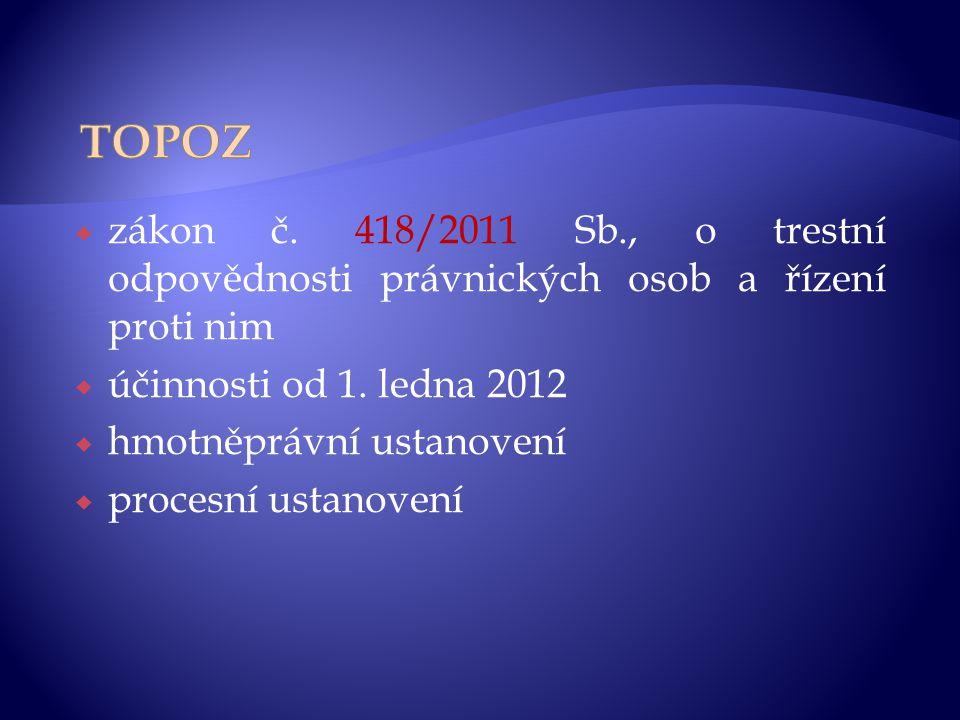  zákon č. 418/2011 Sb., o trestní odpovědnosti právnických osob a řízení proti nim  účinnosti od 1. ledna 2012  hmotněprávní ustanovení  procesní